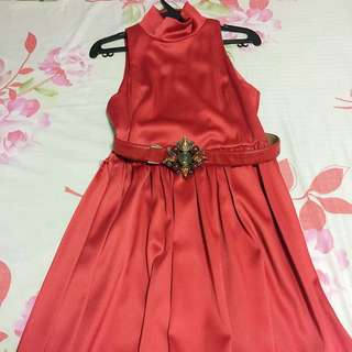 Red Dress With Red Belt