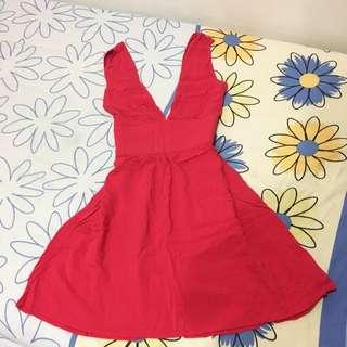 BN F21 Sexy Low Cut Red Dress