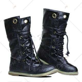 Size 38 Synthetic Lace-Up Design Women's Sweater Boots