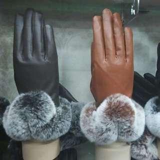 海狸毛真皮手套