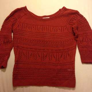 Burnt Orange Crochet Knit Jumper