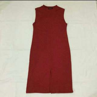 🎁REPRICED: Red Dress With Front Slit