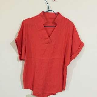 棉麻質橘色襯衫