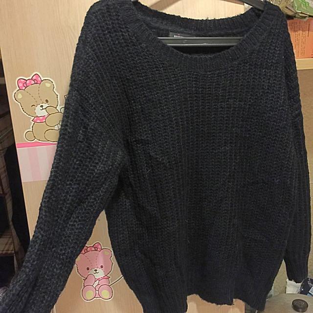 黑色保暖粗針毛衣