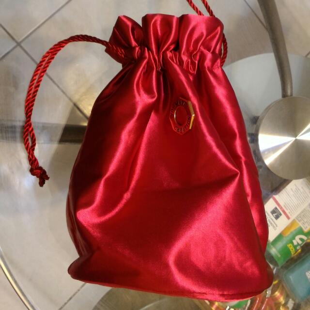 桃紅色束繩收納袋