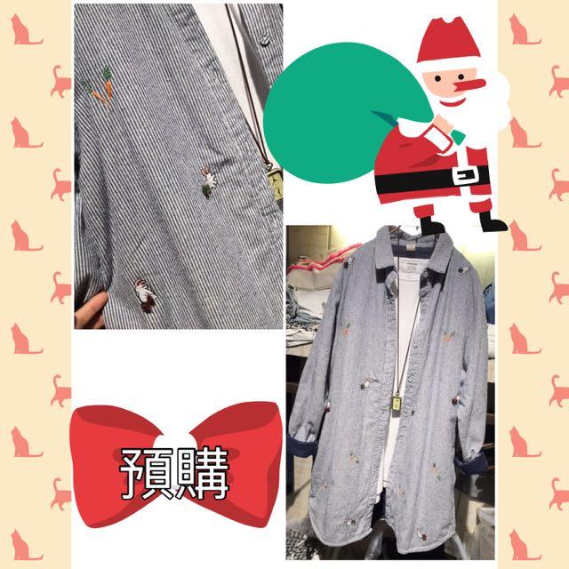 日本 兔子刺繡長版襯衫