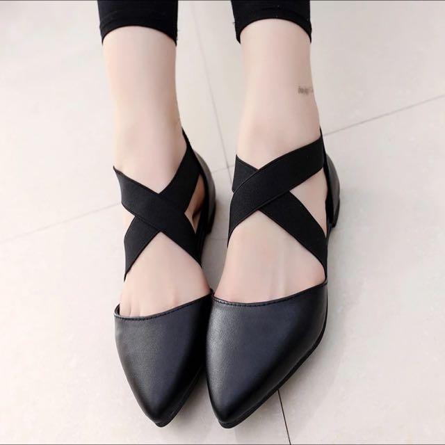 韓版尖頭交叉綁帶鞋 後拉鍊式平底鞋 交叉鬆緊帶鞋 芭蕾舞鞋