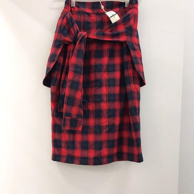 及膝裙 窄裙 蘇格蘭風 格紋 開叉