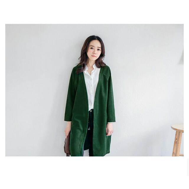 轉賣 MIUSTAR 高品質厚毛料素色長版罩衫