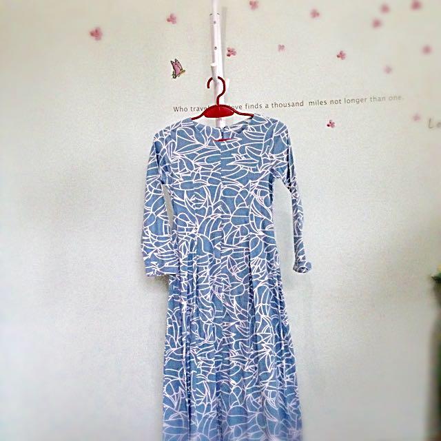 Abstract Blue Midi Dress