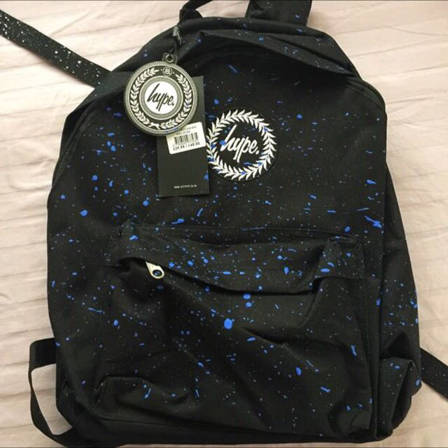 pending  BNWT Authentic Just Hype Backpack Black With Blue Speckles ... dbe21ec90a8c8