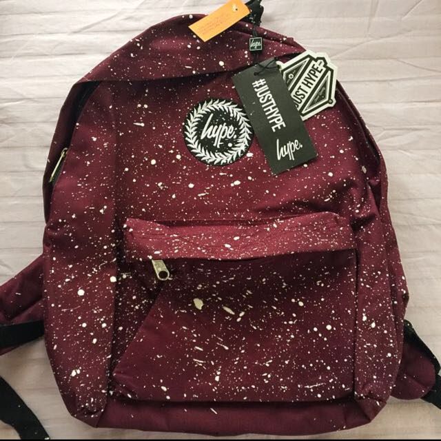 clearance  BNWT Authentic Just Hype Backpack Maroon With White ... 0251c7376f477