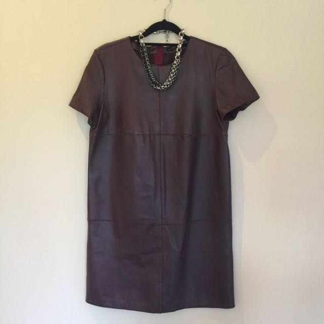 Burgundy Zara XS Pleather Dress