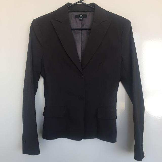 Cue Grey Pinstripe Blazer Size 10