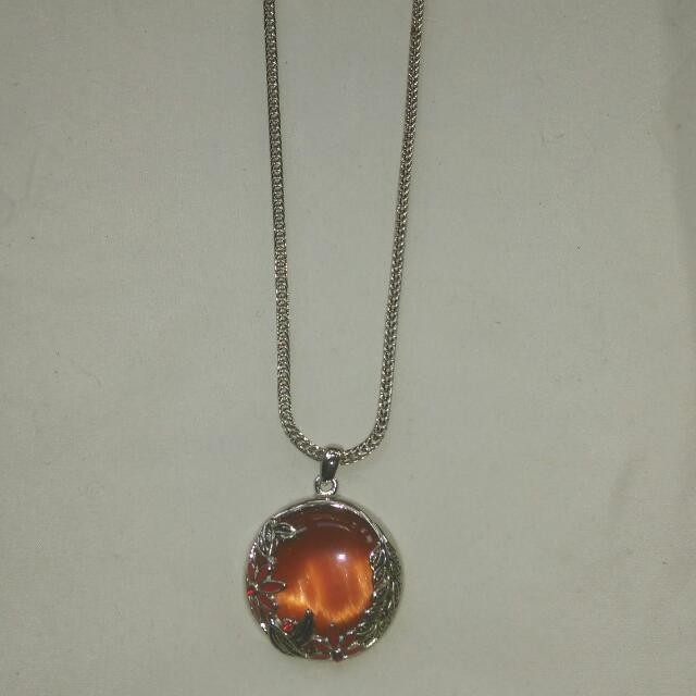 Fire Orange Pendant Necklace