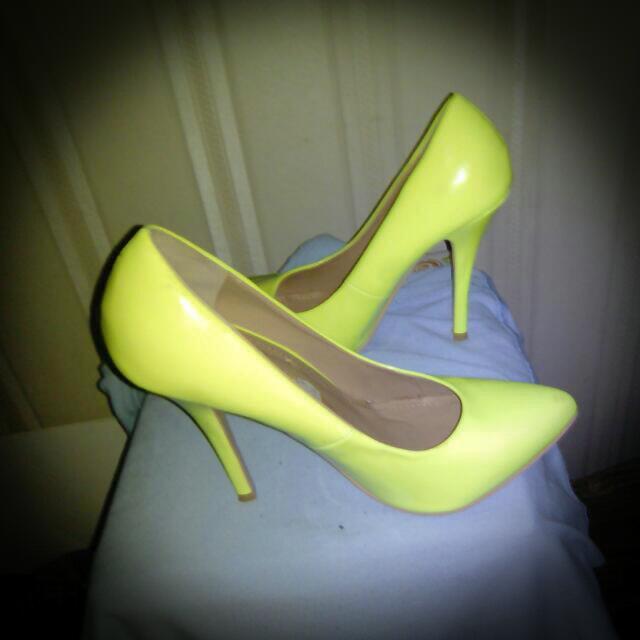 Fluro Yellow Dotti Heels
