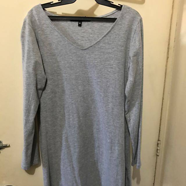 Gray Cotton Long Top Or Tunic With Side Slits