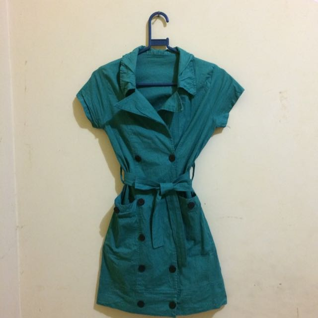 Green Coat Mini Dress