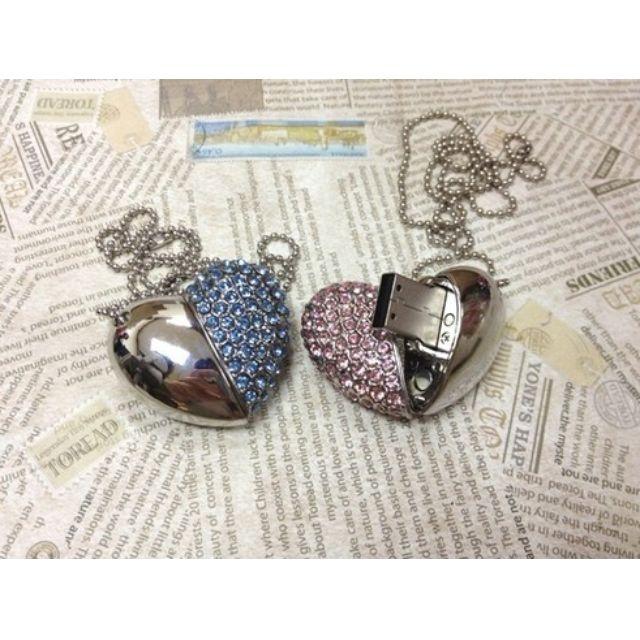 22873e0b5954 Heart Necklace - PINK Swarovski 4GB USB