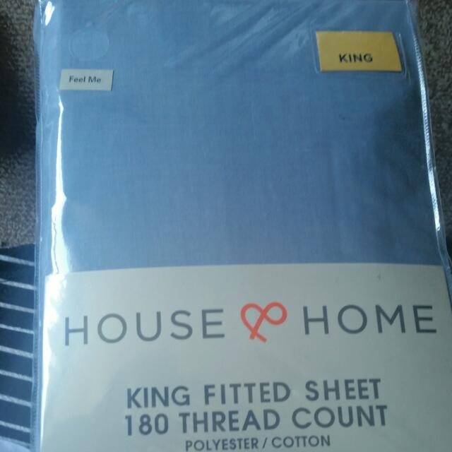 House & Home King Fitted Sheet