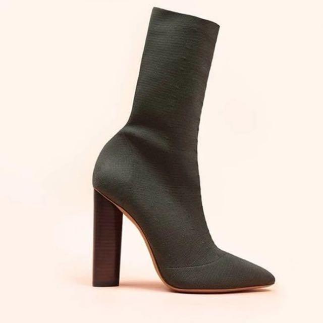 Yeezy Season 2 Knit Sock High Heeled Boots In Khaki
