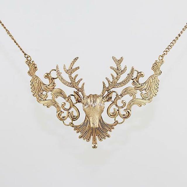 Large Reindeer Gold Necklace
