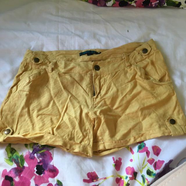 Linen Mustard Shorts
