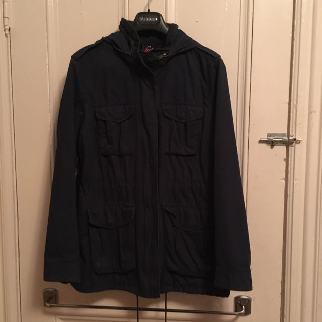 Mid Length Navy Blue Cargo Jacket Sz10