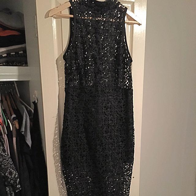 Misha Midi Dress Large Black