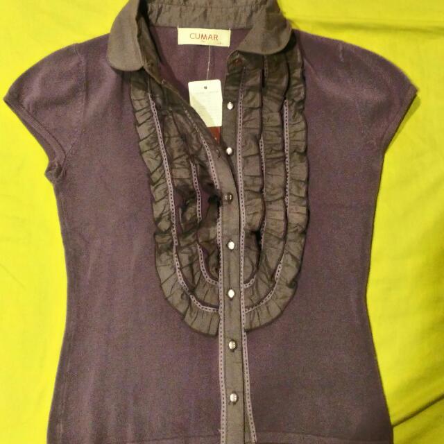 OL短袖紫色襯衫