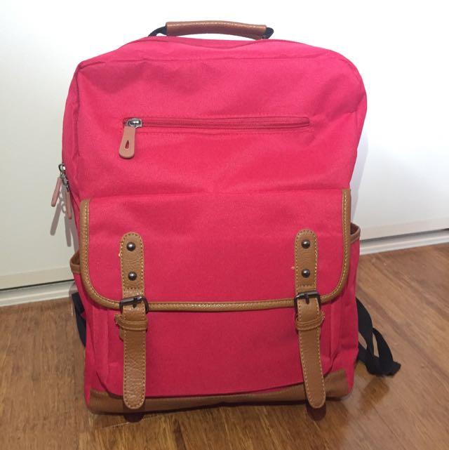 Red Backpack School Bag