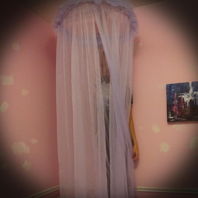 Sheer Light Purple Net/hangs Of Bed