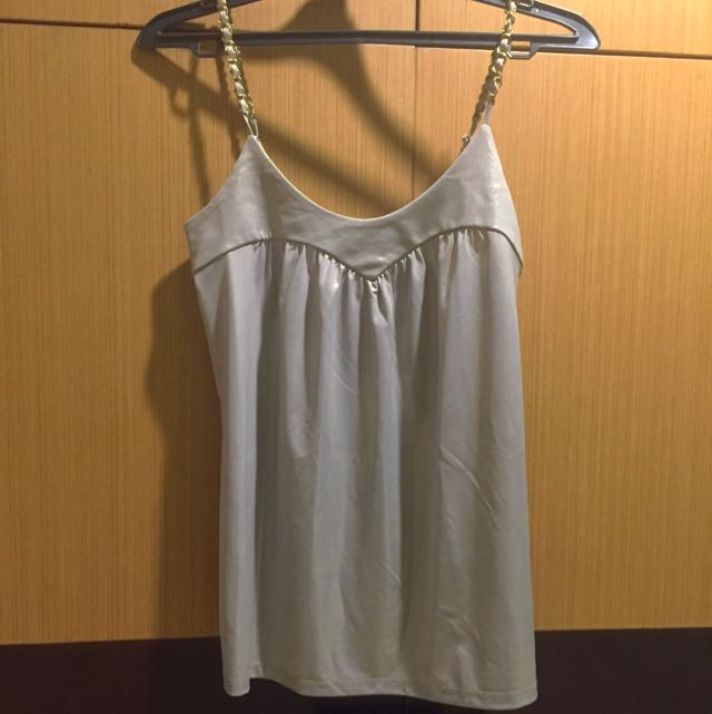 Silver Tank Top With Chain Straps And Metallic Sheen