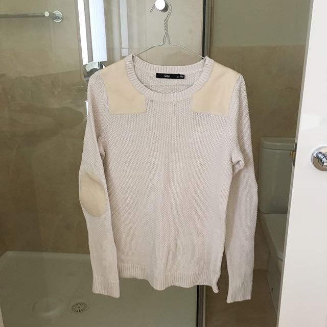 Sportsgirl Sweater with Leather patches