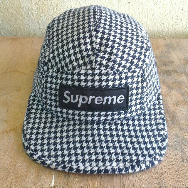 1bba64199a2 Supreme Black Wool Plaid Camp Cap
