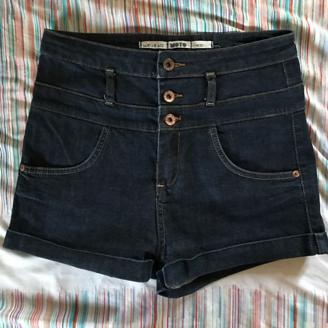 Topshop Denim High-waisted Shorts