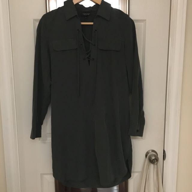 TOPSHOP Forest Green Shirt dress