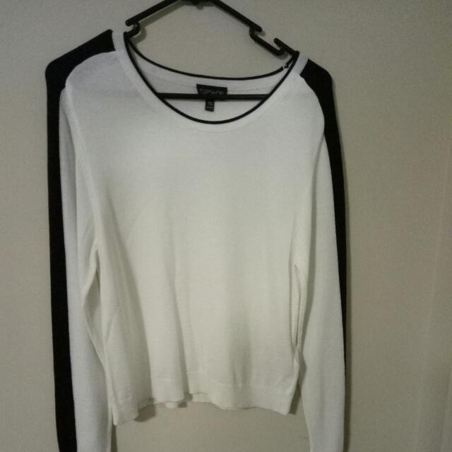 White Top With Black Striped Sleeves