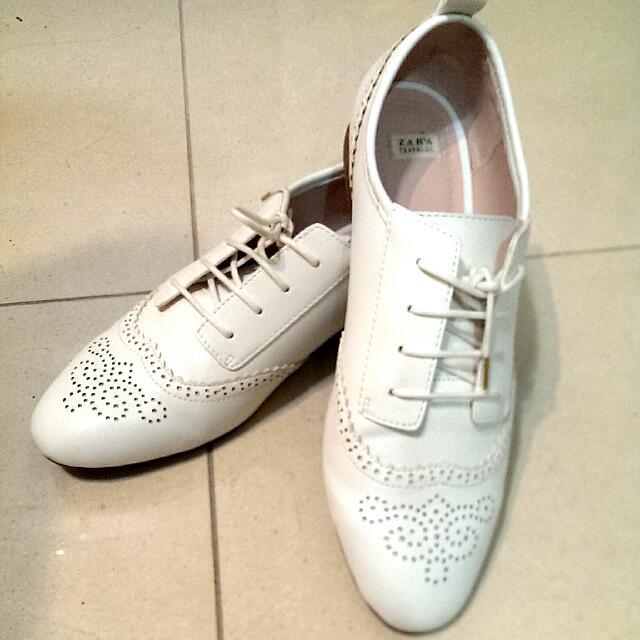 Zara White Leather Oxford Shoes