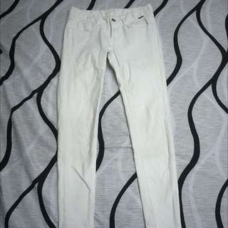韓貨-白色九分煙管褲