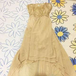 BN Glamourous Gold Sequin Dinner Tube Maxi Dress