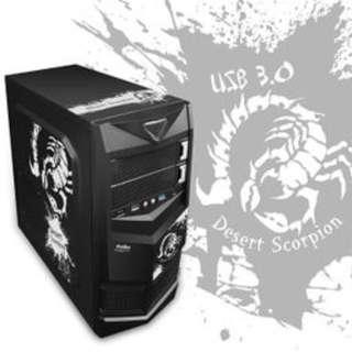 飢餓鯊 USB3.0 藍色圖騰 二代(ATX) 顯卡長28/2大4小/全黑化/U2+U3