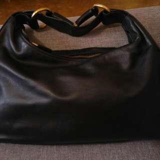 Authentic Gucci Leather Gold Tone Horsebit Hobo Handbag