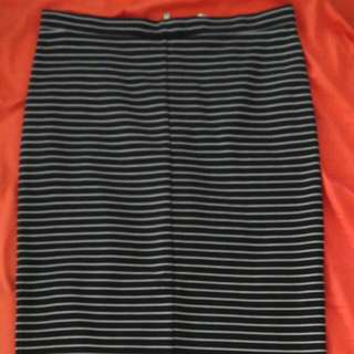 Seed Heritage Black/White Stripe Midi Skirt BNWT