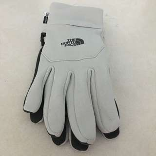 White and Black North Face Gloves