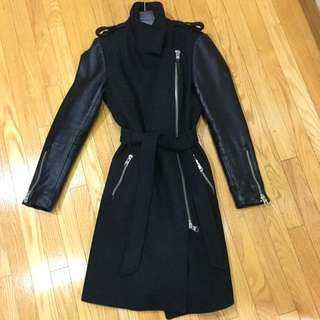 Mackage Dale-SP Long Black Wool Coat With Leather Sleeves Size Small