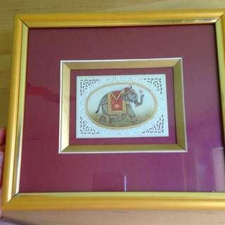 Golden Framed Beautiful Indian Elephant Artwork