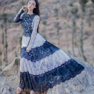 名媛淑女全身進口睫毛蕾絲裙黑白色洋裝禮服