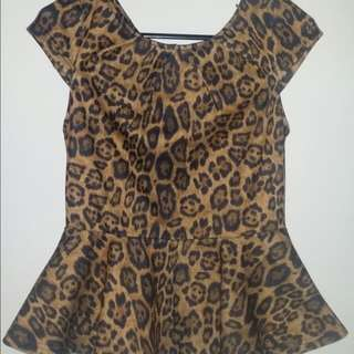 Leopard Peplum Top Small MAO