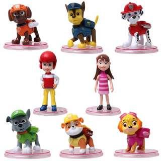 Paw Petrol Figurines / Cake Toppers (8 Pcs A Set)